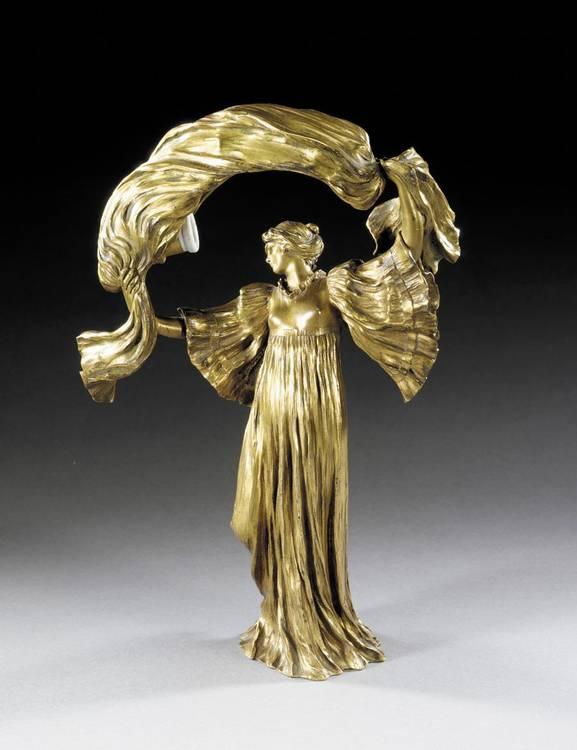 AGATHON LÉONARD 'SCARF DANCER': AN ART NOUVEAU GILT BRONZE FIGURAL LAMP CIRCA 1900