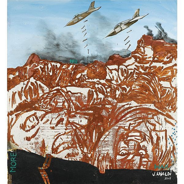 f - Jeffar Khaldi , Gabonese B. 1964 Airshow oil, acrylic, wallpaper collage on canvas