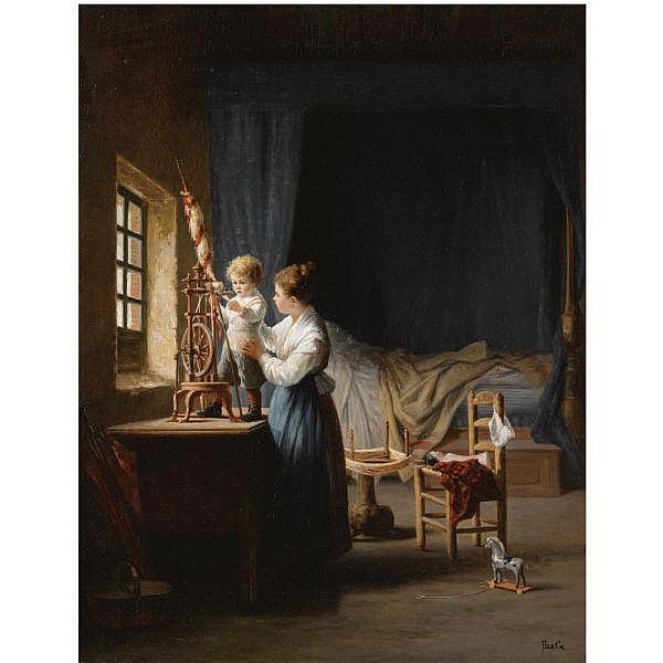 Jean-Paul Haag , French 19th Century Le Petit Fileur oil on panel