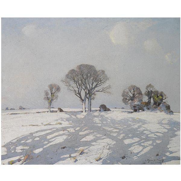 - William Thomas Wood , British 1877-1958 Snow Shadows oil on canvas