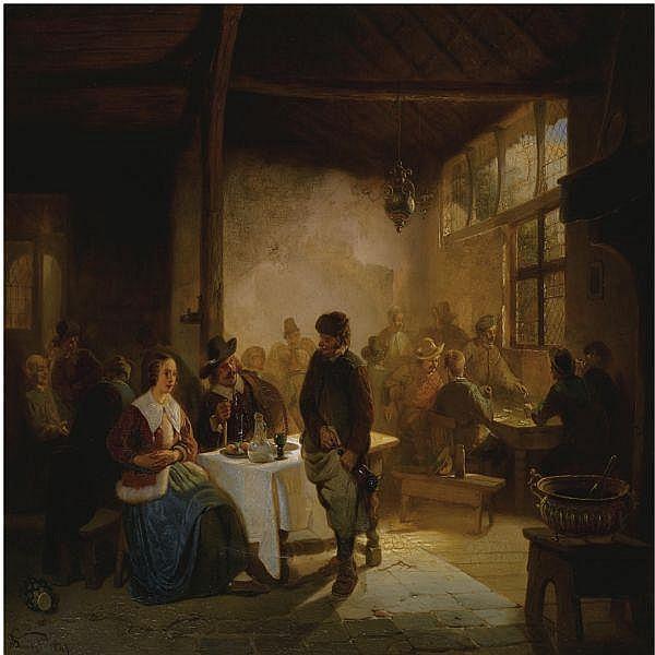 Willem Linnig , Belgian 1819-1886 The Tavern oil on panel