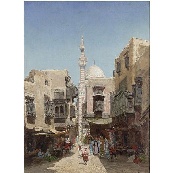 Godefroy de Hagemann , French d. 1877 Arab Market oil on canvas