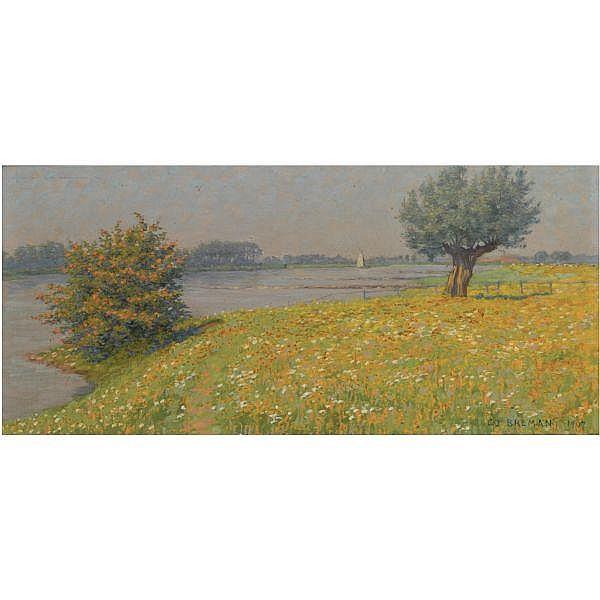 Co Breman , 1865-1938   Voorjaar aan den Rijn oil on canvas