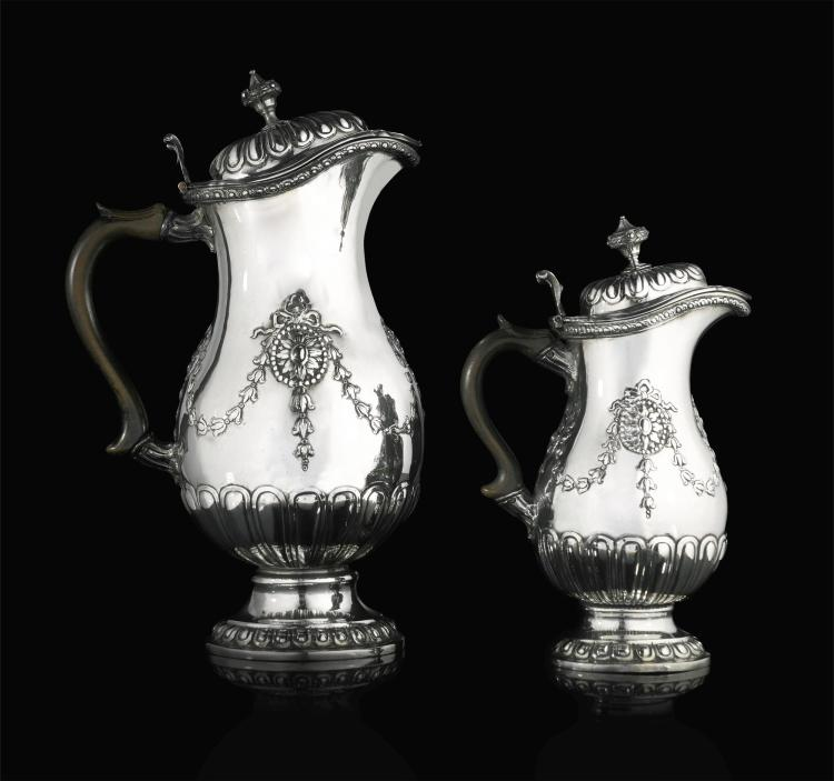 A graduating pair of german silver hot chocolate water pots for Kolb augsburg