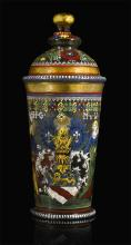 ABOHEMIAN OR SOUTH GERMAN POLYCHROME ENAMELLED AND GILT ARMORIAL GLASS HUMPEN AND COVER, PERHAPS 17TH CENTURY |