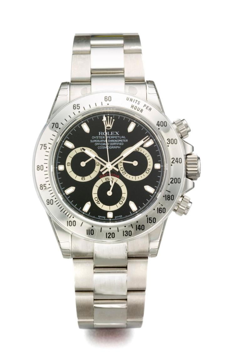 ROLEX | A STAINLESS STEEL AUTOMATIC CHRONOGRAPH WRISTWATCH WITH REGISTERS AND BRACELET REF 116520 CASE V290576 COSMOGRAPH DAYTONA CIRCA 2009