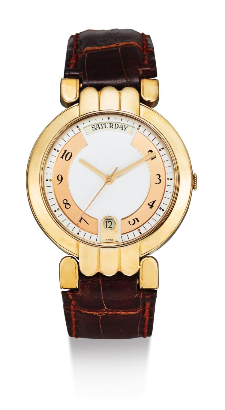 HARRY WINSTON | A YELLOW GOLD AUTOMATIC WRISTWATCH WITH DATE AND DAY PREMIER DAY-DATE CIRCA 1999