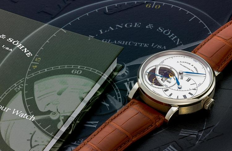 A. LANGE & SÖHNE | A VERY FINE LIMITED EDITION WHITE GOLD TOURBILLON WRISTWATCH WITH FUSEE AND CHAIN, REGULATOR DIAL AND STOP SECONDS MVT 94631 CASE 216541 RICHARD LANGE POUR LE MÉRITECIRCA 2014