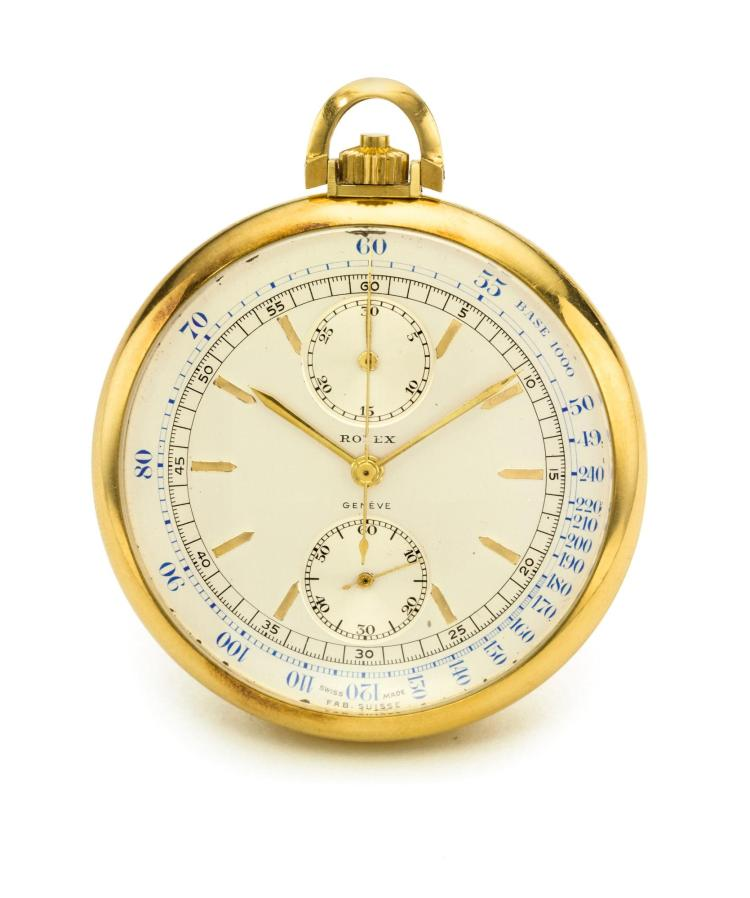 ROLEX | A YELLOW GOLD OPEN FACED CHRONOGRAPH WATCH REF 3068 CASE 1008594 CIRCA 1940