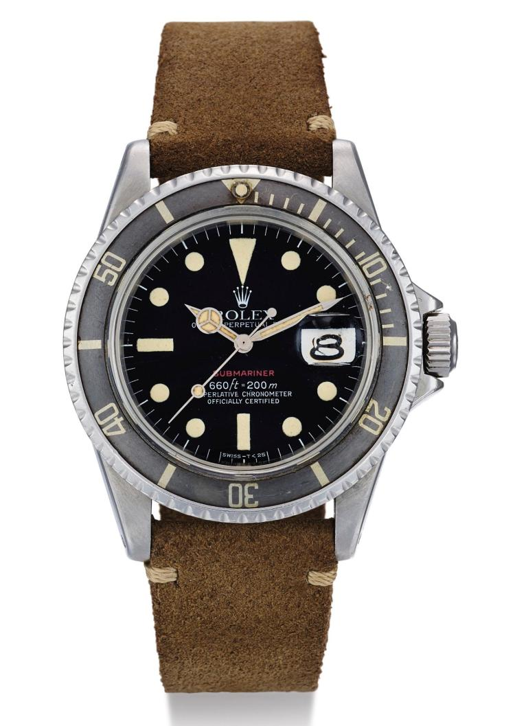 ROLEX | A STAINLESS STEEL AUTOMATIC CENTER SECONDS WRISTWATCH WITH DATE REF 1680 CASE 3689041 'RED' SUBMARINER CIRCA 1974