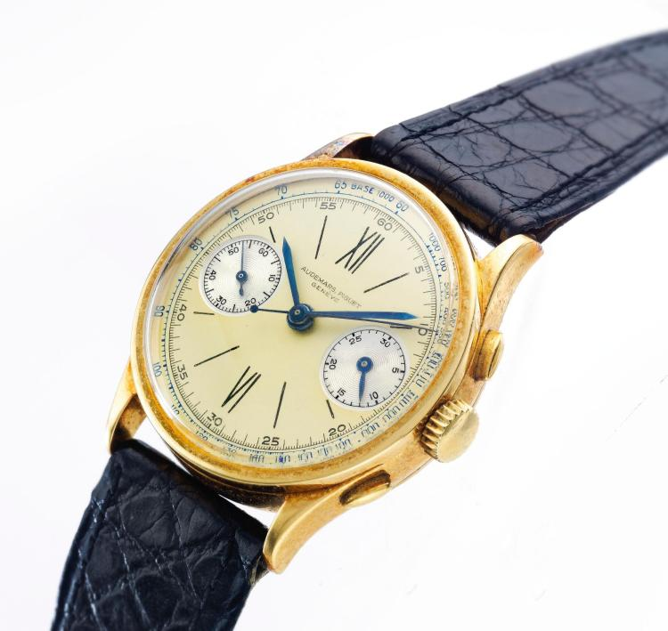 AUDEMARS PIGUET | A FINE AND RARE YELLOW GOLD CHRONOGRAPH WRISTWATCH WITH TWO TONE DIAL AND REGISTERS NO 43794MADE IN 1938