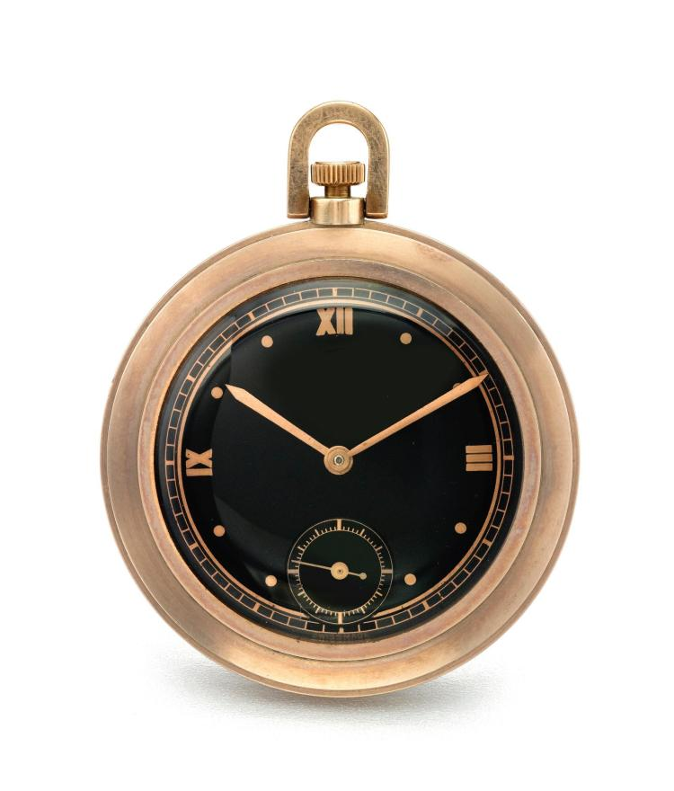 MARVIN   A PINK GOLD OPEN FACED WATCH WITH BLACK DIAL CASE 836509 CIRCA 1935