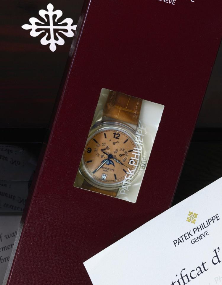 PATEK PHILIPPE   ALIMITED EDITION PLATINUM AUTOMATIC ANNUAL CALENDAR WRISTWATCH WITH MOON PHASES, POWER RESERVE INDICATION REF 5450P MVT3900068 CASE 4429160ADVANCED RESEARCH MADE IN 2008