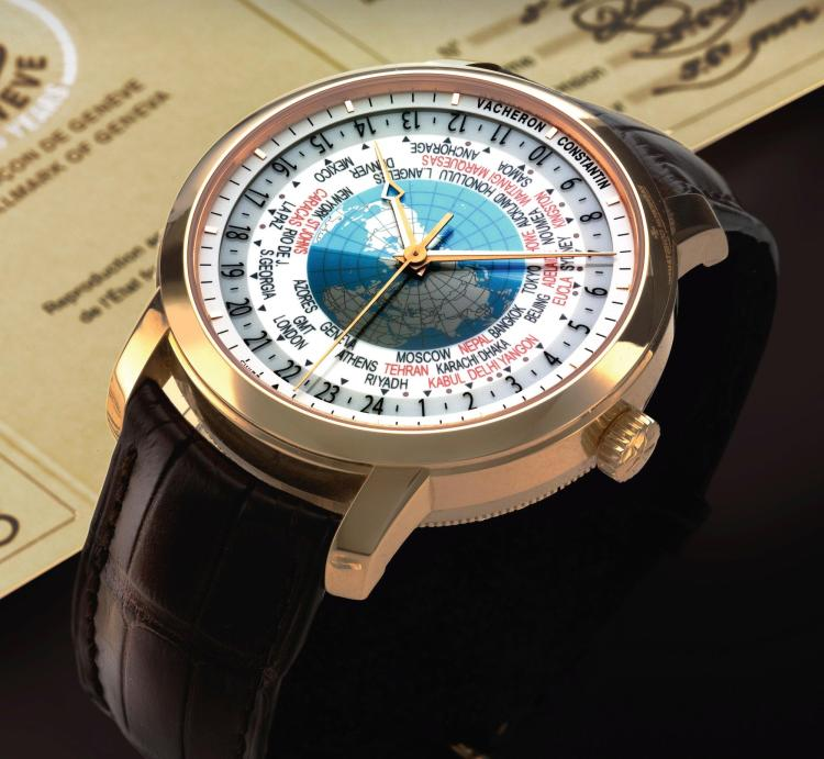 VACHERON CONSTANTIN | A LARGE PINK GOLD AUTOMATIC WORLD TIME WRISTWATCH  REF 86060 CASE 1232562 PATRIMONY TRADITIONNELLE WORLD TIME CIRCA 2012
