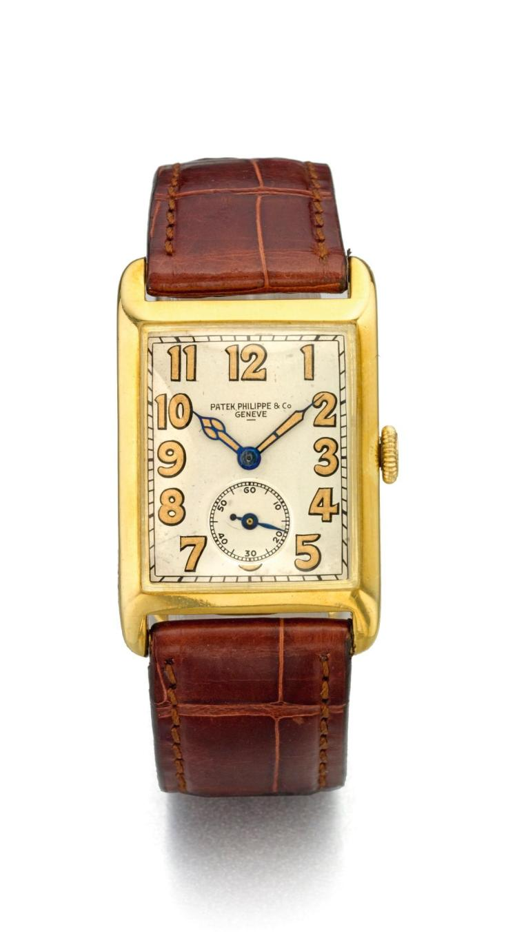 PATEK PHILIPPE | A RARE YELLOW GOLD RECTANGULAR WRISTWATCH WITH HINGED CASE MVT 811180 CASE604140 MADE IN 1925