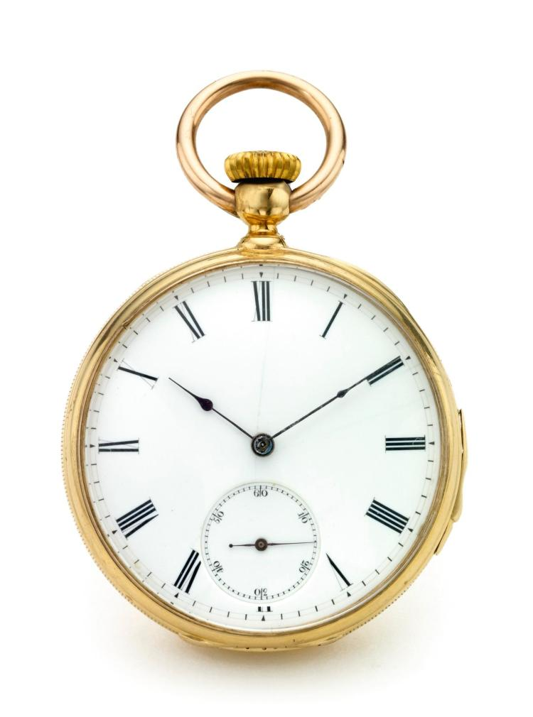 PATEK PHILIPPE | A YELLOW GOLD OPEN FACED QUARTER REPEATING WATCH NO 27446 MADE IN 1869