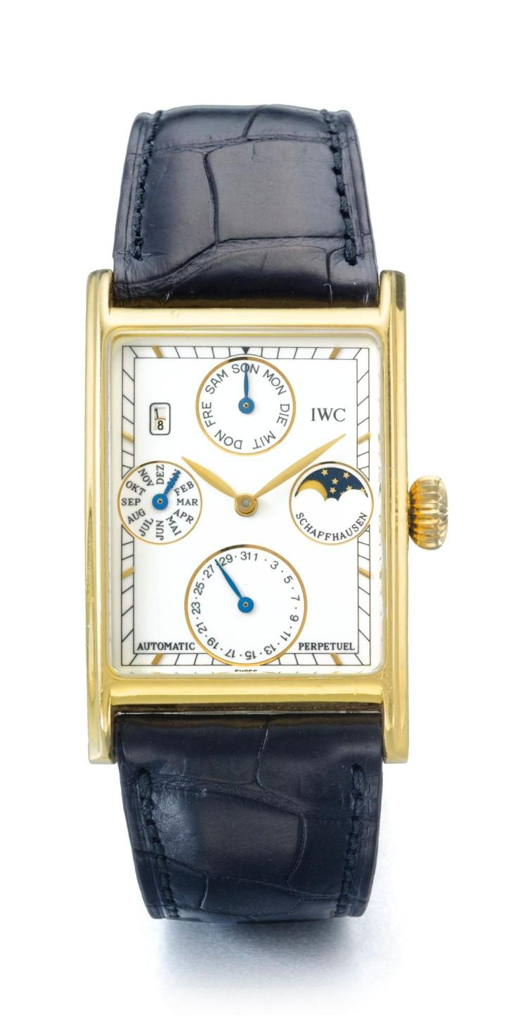 IWC | A YELLOW GOLD RECTANGULAR AUTOMATIC PERPETUAL CALENDAR WRISTWATCH WITH MOON PHASES REF 3545 CASE 2393389 NO 39 NOVECENTO CIRCA 1990