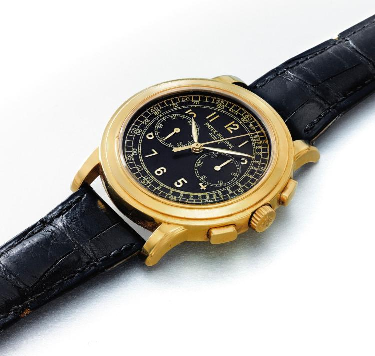 PATEK PHILIPPE | A FINE YELLOW GOLD CHRONOGRAPH WRISTWATCH WITH REGISTER AND TACHOMETER SCALE REF 5070J MVT 3146433 CASE 4068611 MADE IN 1999