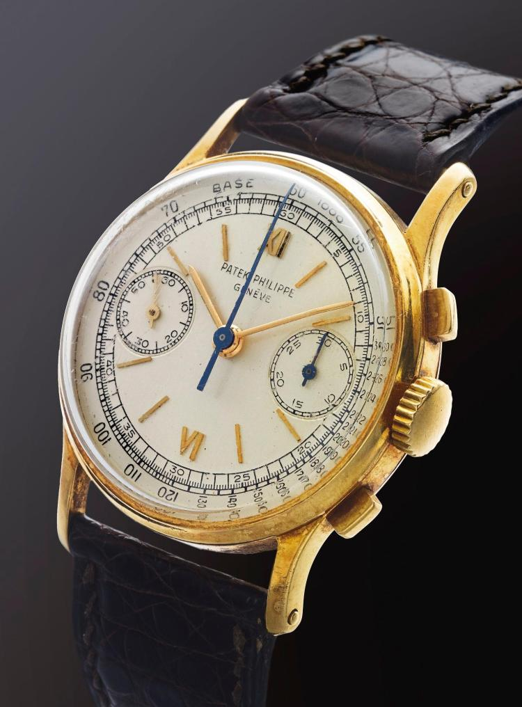 PATEK PHILIPPE | A YELLOW GOLD CHRONOGRAPH WRISTWATCH WITH REGISTERS REF 130 MVT 868437 CASE 672242 MADE IN 1952