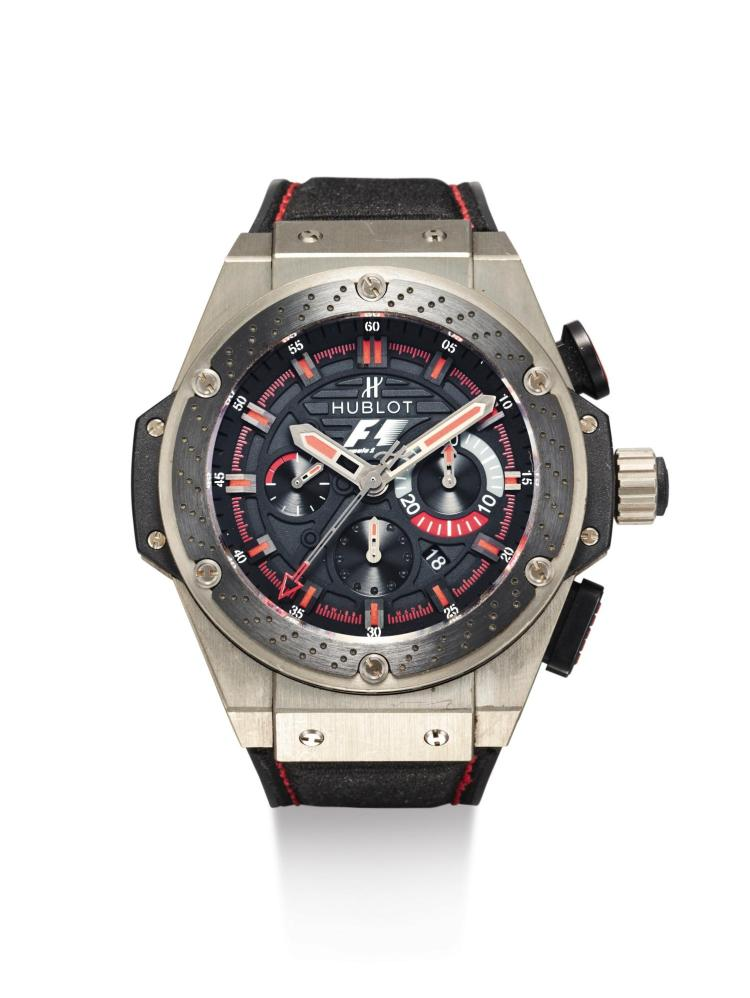 HUBLOT | A LIMITED EDITION ZIRCONIUM, PVD-COATED TITANIUM AND CERAMIC AUTOMATIC CHRONOGRAPH WRISTWATCH WITH DATE AND REGISTERS NO 162/500 F1 KING POWER CIRCA 2010