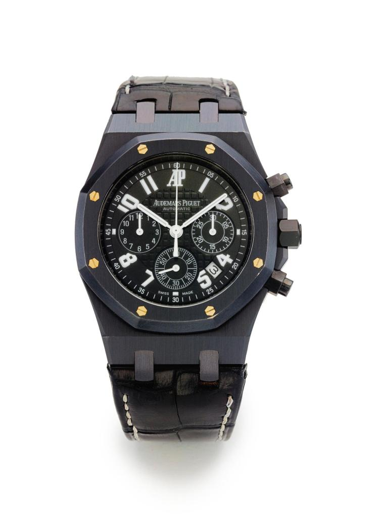 AUDEMARS PIGUET   A LIMITED EDITION PVD-COATED STAINLESS STEEL AUTOMATIC CHRONOGRAPH WRISTWATCH WITH DATE CASE F-02771 ROYAL OAK LA BOUTIQUE 40 E. 57TH NEW YORK EDITION CIRCA 2003