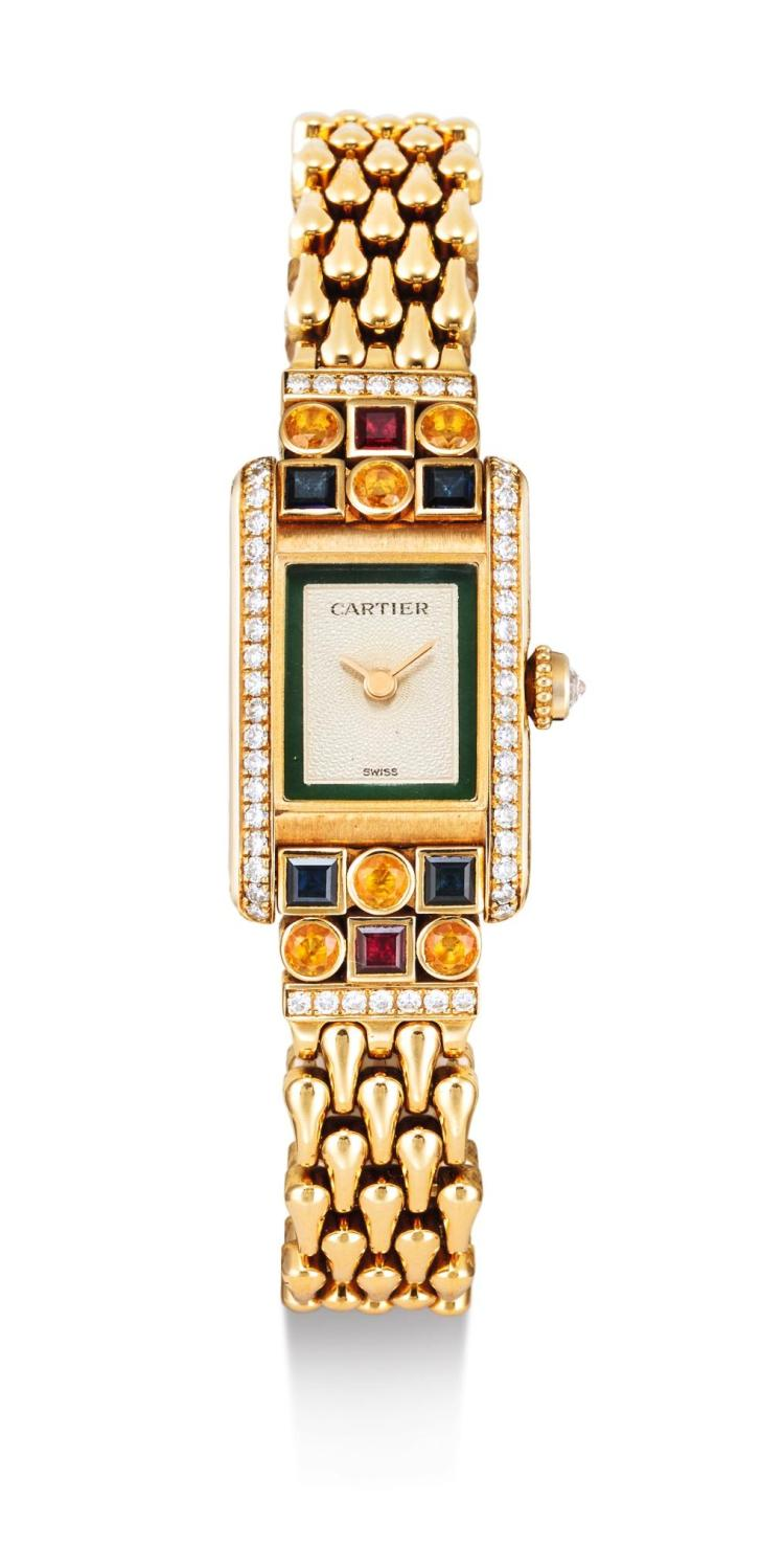 CARTIER | A LADY'S YELLOW GOLD, DIAMOND AND GEM-SET RECTANGULAR BRACELET WATCH MINI TANK CIRCA 1995