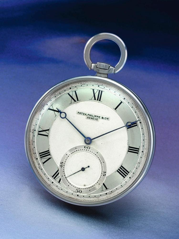 PATEK PHILIPPE | A LARGE STAINLESS STEEL OPEN FACED WATCH WITH TWO TONE DIAL REF 625 MVT 881119 CASE 507353 MADE IN 1941