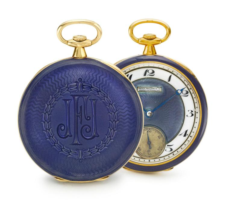 PATEK PHILIPPE | A FINE AND RARE YELLOW GOLD AND ENAMEL OPEN FACED WATCH MVT 186170 CASE 402580 MADE IN 1916