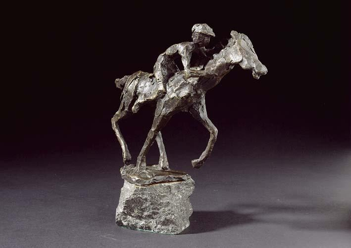 A BRONZE SCULPTURE OF A HORSERIDER BY JITS BAKKER (BORN 1937)