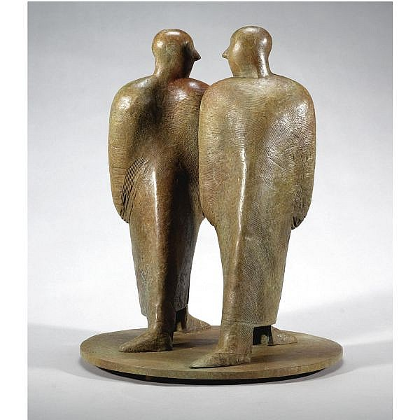 Carolyn Mulholland, R.H.A. , b.1944 Figures Passing bronze with brown patina