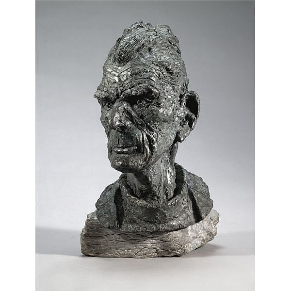 Diarmuid Delargy , b. 1958 Head of Samuel Beckett bronze on stone base