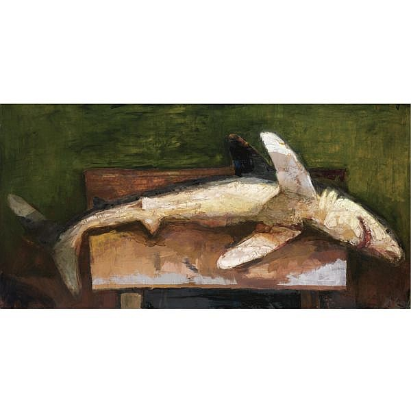 Diarmuid Delargy , b. 1958 Shark (from the Art and Extinction Series) oil on canvas, unframed