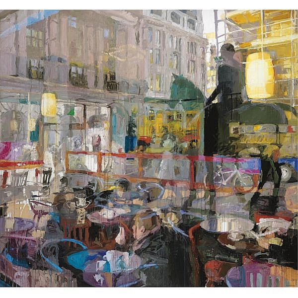 Colin Davidson, R.U.A. , b.1968 Café Window (Piccadilly) acrylic and crayon on canvas