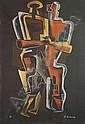 Ossip Zadkine , 1890 - 1967 ROUGE ET JAUNE SUR FOND NOIR tapisserie d'après un carton d'Ossip Zadkine, tissée à 6 exemplaires par l'Atelier Pinton