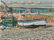 MAURICE JOSEPH MACGONIGAL, P.R.H.A.   Boats in a Harbour
