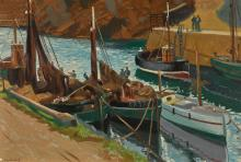 MAURICE JOSEPH MACGONIGAL, P.R.H.A.   Boats in aHarbour