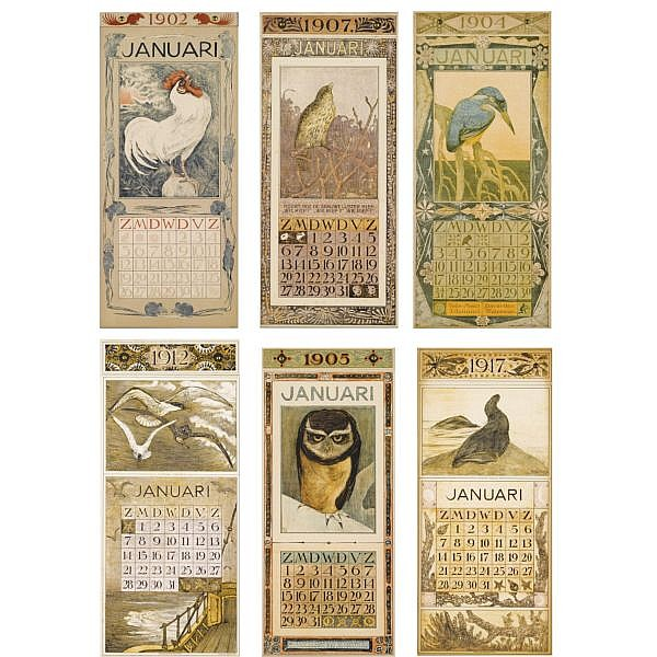 f - A rare complete set of seventeen calendars designed by Theo van Hoytema, 1902-1918 1902 -1918