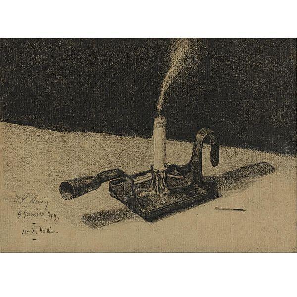 François Bonvin , Paris 1817 - 1887 St. Germain-en-Laye Le bougeoir Black chalk on paper