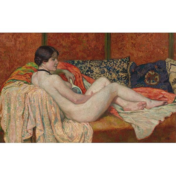 Théo van Rysselberghe , 1862-1926 MODÈLE AU REPOS, MAUD Oil on canvas