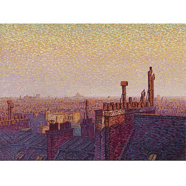 Gustave Cariot , 1872-1950   Les toits de Paris, coucher de soleil Oil on canvas