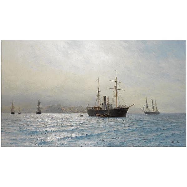 - Lev Felixovich Lagorio , 1826-1905 Ships on a calm sea oil on canvas