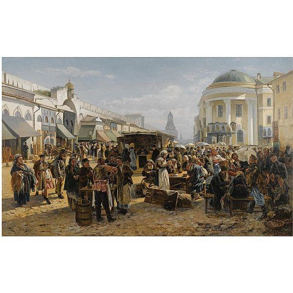 - Vladimir Egorovich Makovsky , 1846-1920 The Rag Market in Moscow oil on canvas