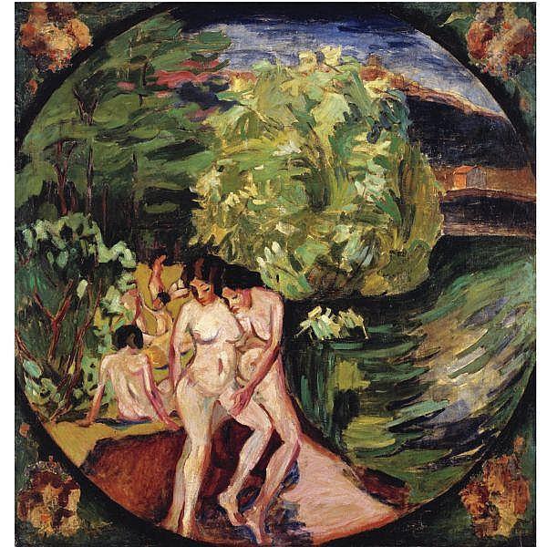- Aristarkh Vasilevich Lentulov , 1882-1943 Bathers   oil on canvas