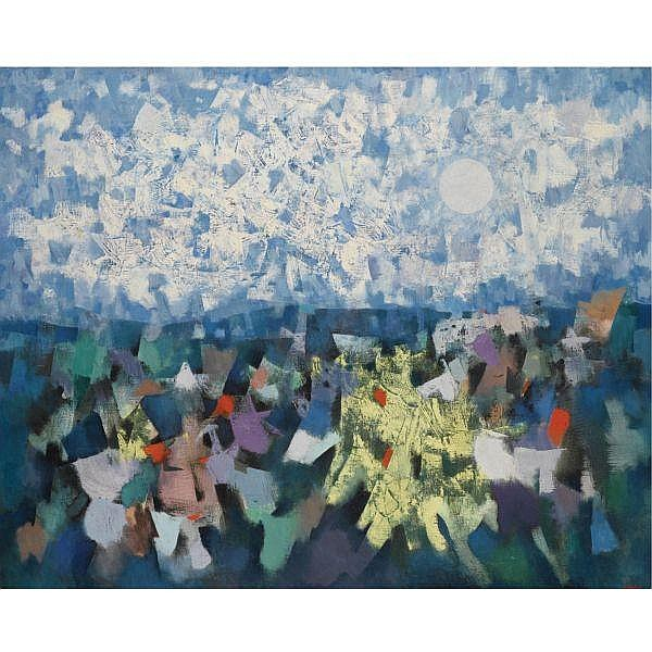 Mordecai Ardon 1896-1992 , Golan oil on canvas