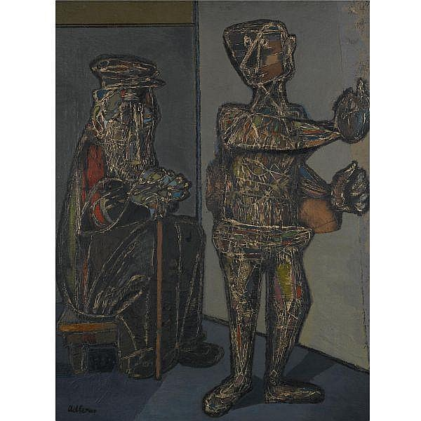 Jankel Adler 1895-1949 , Two Figures oil on canvas