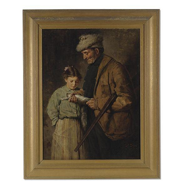 Lawrence Carmichael Earle 1845-1921 , Hunter with Young Girl oil on canvas mounted on paper board
