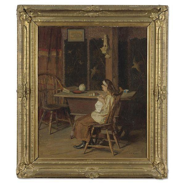 John Ramsey Conner 1869-1952 , The Little Seamstress oil on canvas