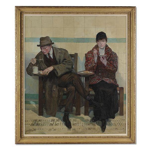 Oskar Gross 1871-1936 , The Automat oil on canvas