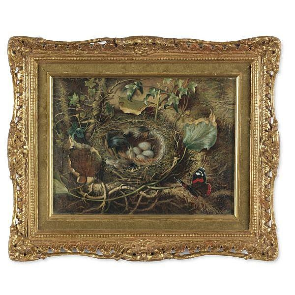 Edward George Handel Lucas 1861-1936 , A Still-life with Bird's Nest and Butterfly on a Mossy Bank oil on canvas