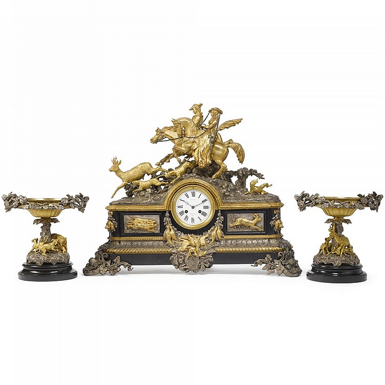 LOUIS-MARIE MORIS 1818-1884 A NAPOLÉON III SILVERED AND GILT-BRONZE THREE-PIECE CLOCK GARNITURE ALLEGORICAL OF THE HUNT PARIS, CIRCA 1865-70